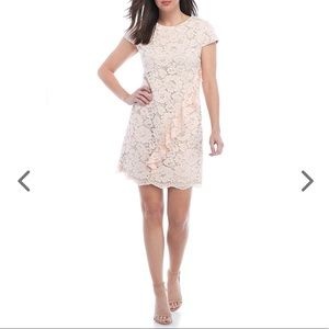 Allover Lace Shift Dress w/ Asymmetric Top Ruffle